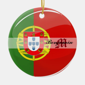 Glossy Round Portuguese Flag Double-Sided Ceramic Round Christmas Ornament