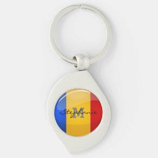 Glossy Round Romanian Flag Key Ring