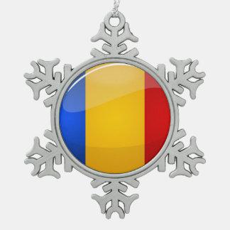 Glossy Round Romanian Flag Snowflake Pewter Christmas Ornament