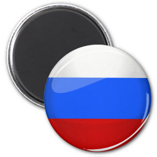 Glossy Round Russia Flag 6 Cm Round Magnet