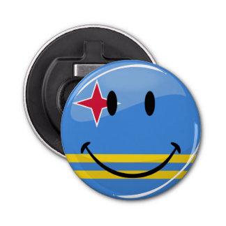Glossy Round Smiling Aruban Flag