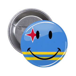 Glossy Round Smiling Aruban Flag 6 Cm Round Badge