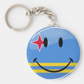 Glossy Round Smiling Aruban Flag Basic Round Button Key Ring