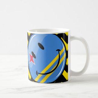 Glossy Round Smiling Aruban Flag Basic White Mug