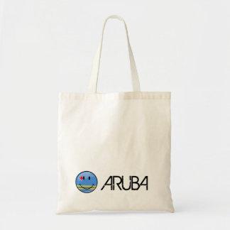 Glossy Round Smiling Aruban Flag Budget Tote Bag