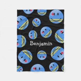 Glossy Round Smiling Aruban Flag Fleece Blanket