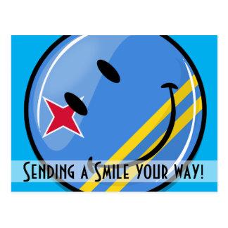 Glossy Round Smiling Aruban Flag Postcard
