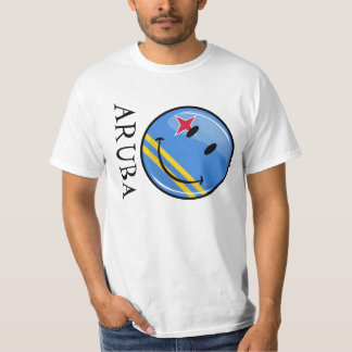 Glossy Round Smiling Aruban Flag Shirts