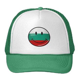 Glossy Round Smiling Bulgarian Flag Cap