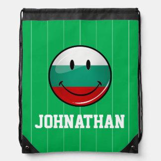 Glossy Round Smiling Bulgarian Flag Drawstring Backpacks