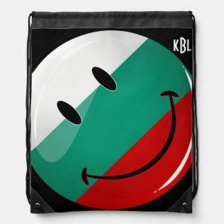 Glossy Round Smiling Bulgarian Flag Drawstring Bag