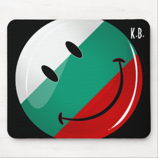 Glossy Round Smiling Bulgarian Flag Mouse Pad