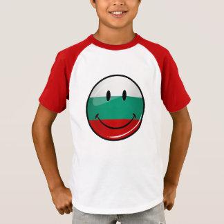 Glossy Round Smiling Bulgarian Flag T-Shirt