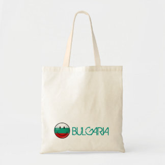 Glossy Round Smiling Bulgarian Flag Budget Tote Bag