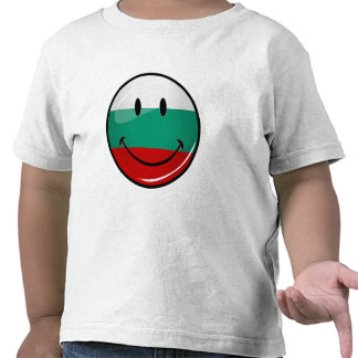Glossy Round Smiling Bulgarian Flag Tshirt