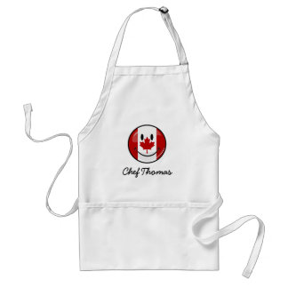 Glossy Round Smiling Canadian Flag Standard Apron