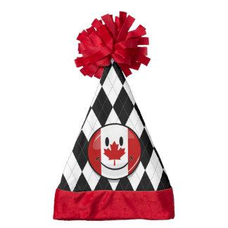 Glossy Round Smiling Canadian Flag Santa Hat