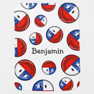 Glossy Round Smiling Chilean Flag Baby Blanket