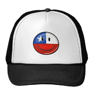 Glossy Round Smiling Chilean Flag Cap