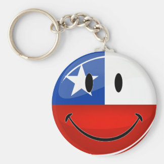 Glossy Round Smiling Chilean Flag Key Ring