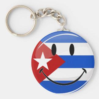 Glossy Round Smiling Cuban Flag Basic Round Button Key Ring