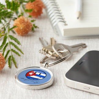 Glossy Round Smiling Cuban Flag Silver-Colored Round Key Ring