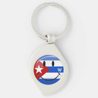 Glossy Round Smiling Cuban Flag Silver-Colored Swirl Key Ring