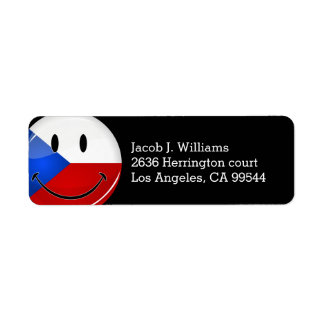 Glossy Round Smiling Czech Rep. Flag Return Address Label