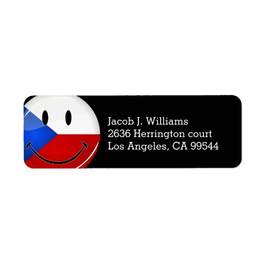 Glossy Round Smiling Czech Rep. Flag Return Address Label