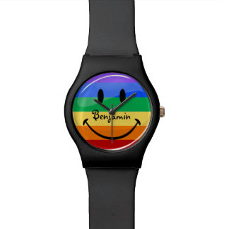 Glossy Round Smiling Gay Lgbt Pride Flag Wristwatch