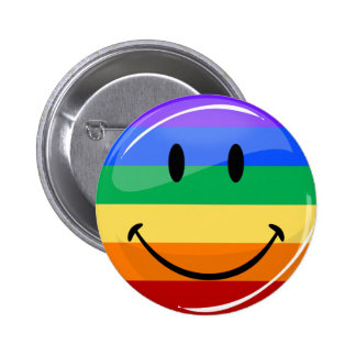 Glossy Round Smiling Gay Pride Flag 6 Cm Round Badge