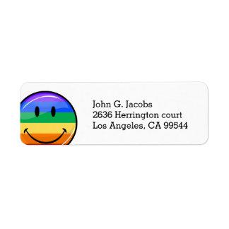Glossy Round Smiling Gay Pride Flag Return Address Label