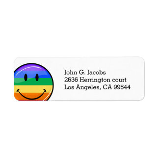 Glossy Round Smiling Gay Pride Flag Return Address Label