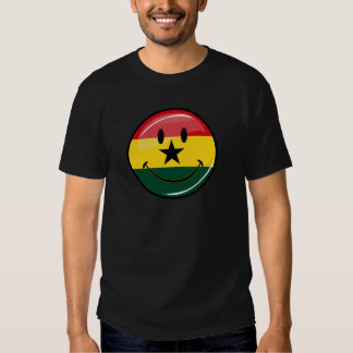 Glossy Round Smiling Ghanian Flag Tee Shirts