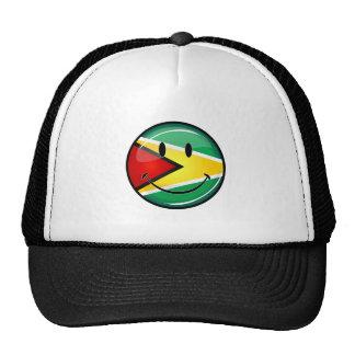 Glossy Round Smiling Guyanese Flag Trucker Hat