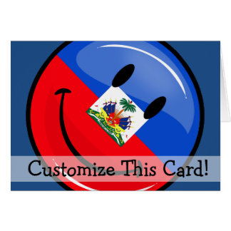 Glossy Round Smiling Haitian Flag Greeting Card
