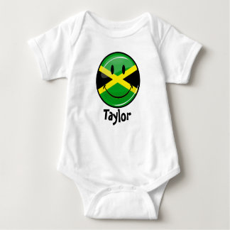 Glossy Round Smiling Jamaican Flag Baby Bodysuit