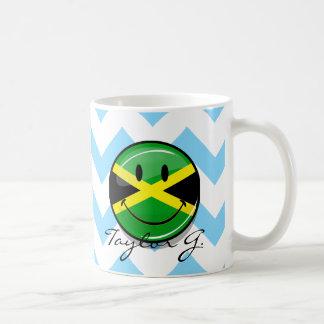 Glossy Round Smiling Jamaican Flag Basic White Mug