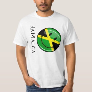 Glossy Round Smiling Jamaican Flag T-Shirt