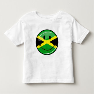 Glossy Round Smiling Jamaican Flag Toddler T-Shirt