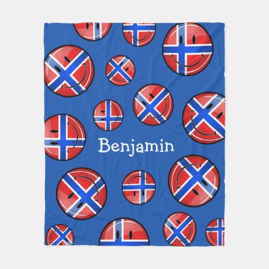 Glossy Round Smiling Norwegian Flag Fleece Blanket