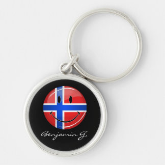 Glossy Round Smiling Norwegian Flag Silver-Colored Round Key Ring