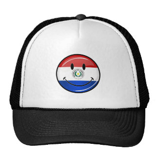 Glossy Round Smiling Paraguay Flag Cap