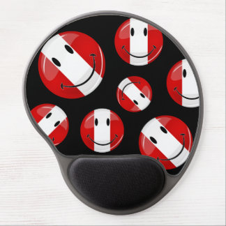 Glossy Round Smiling Peruvian Flag Gel Mouse Pad