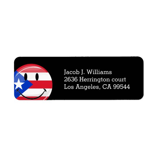 Glossy Round Smiling Puerto Rican Flag