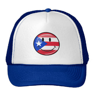 Glossy Round Smiling Puerto Rican Flag Cap