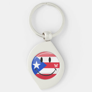 Glossy Round Smiling Puerto Rican Flag Key Chain