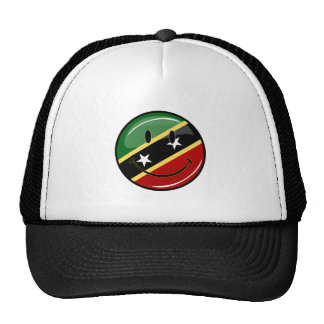 Glossy Round Smiling St. Kitts and Nevis Flag Cap