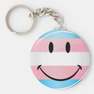 Glossy Round Smiling Transgender Flag Basic Round Button Key Ring