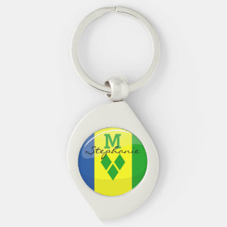 Glossy Round St. Vincent and Grenadines Flag Silver-Colored Swirl Key Ring